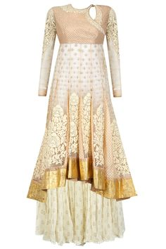 Blush net asymmetrical anarkali with sharara available only at Pernia's Pop-Up Shop.