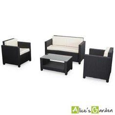 Ensemble Canapé et fauteuil en coton velours avec pieds bois