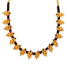 22K Gold 'Lakshmi kasu' Necklace with Black Thread (Temple Jewellery)
