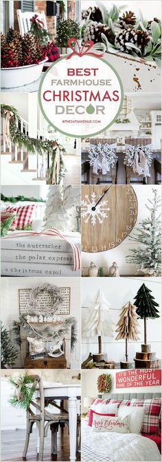 Farmhouse Christmas Decor Ideas. Beautiful Christmas decorations for your home. #farmhouse_holiday_decor
