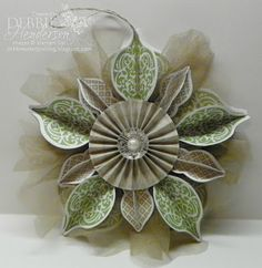Stampin' Up! Christmas ornament with a rosette from Debbie's Designs ...