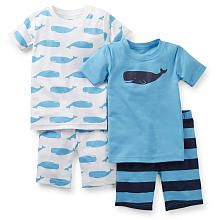 Carter's Boys 4 Piece Whale Cotton Pajama Set with 2 Short Sleeve Tops and 2 Shorts- Toddler