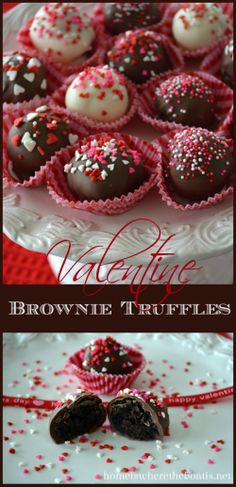 Brownie Truffles, an easy treat for Valentine's Day using a short cut, Brownie Mix in a box! http://homeiswheretheboatis.net/ #valentinesday