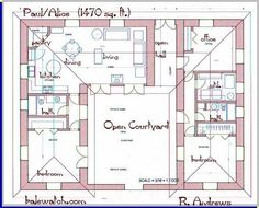 3 bedroom house plans with courtyard - Google Search                                                                                                                                                                                 More