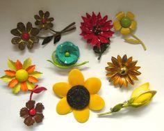 Beautiful ENAMEL FLOWER Brooch Pin Lot Vintage 60s Jewelry ART Germany & More by jewelryannie on Etsy