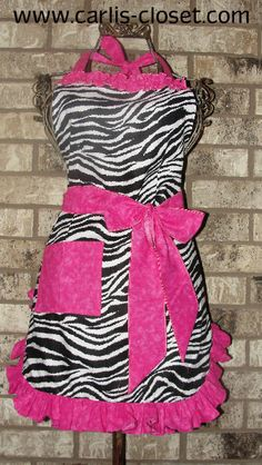 Zebra and Hot Pink Apron by CarlisCloset on Etsy, $15.00