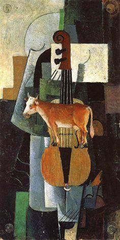 Казимир МАЛЕВИЧ - Скрипка и корова, 1913