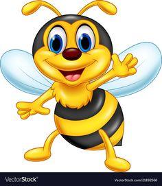 Little bee cartoon presenting Royalty Free Vector Image
