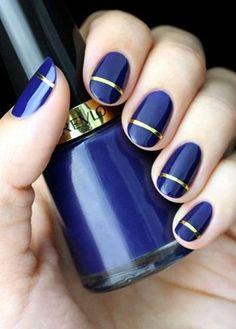 Easy yet stylish strip nail art #nailart #nails #womentriangle