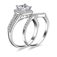 Jewelrypalace Women's 1.3ct Princess Cut Cubic Zirconia Anniversary Bridal Wedding Band Engagement Ring Sets 925 Sterling Silver - http://www.jewelryfashionlife.com/jewelrypalace-womens-1-3ct-princess-cut-cubic-zirconia-anniversary-bridal-wedding-band-engagement-ring-sets-925-sterling-silver/