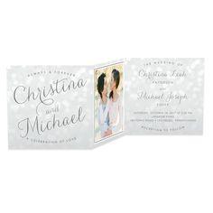 Bokeh Blur - Shimmer Wedding Invitations - Sarah Hawkins Designs - Eggshell - Neutral : Front