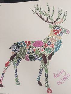 Deer from Millie Marotta's Animal Kingdom Colouring Book