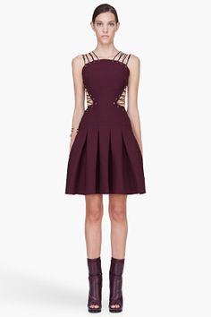 Versus Burgundy Lace Up A-line Dress for Women | SSENSE