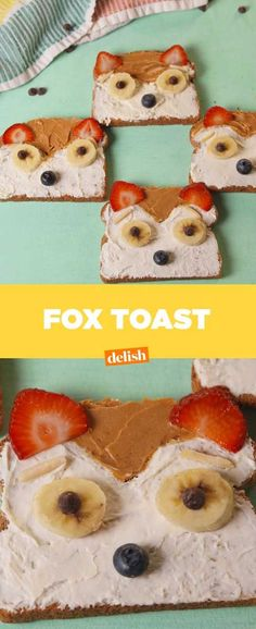 Fox Toast = Cutest Breakfast EVER. Get the recipe from Delish.com.