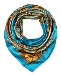 "Corciova® 35"" Designer Silk Like Square Women's Hair Scarves Totem Turquoise"