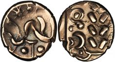 Corieltauvi. AV Stater (5.53 gms), ca. 45-10 B.C. S-390; VA-811-9. South Ferriby Type. Abstract head of Apollo right; Reverse: Disjointed abstract horse left with wavy-armed star below