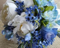 Blue Spring Bridal Bouquet with Ivory Peonies & Blue Flowers - Blue Wax Flowers, Silk Wedding Flowers - Artificial Bride's Bouquet