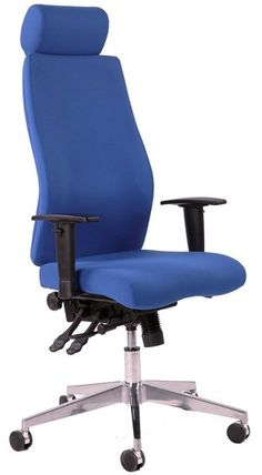 The Onyx is a new high grade multi-function mechanism orthopaedic office chair Ratchet height adjustable back Chiropractor endorsed posture chair Ergonomic design Height adjustable arms Polished chrome baseBlue or Black Fabric Contoured foam seat and back for extra comf