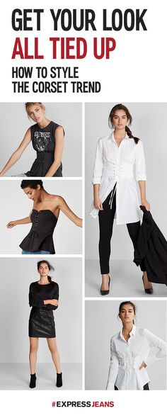 Get your look all tied up for work and play with this season's hottest corsets from Express. Upgrade a basic look with a cinched waist, add a corset belt for dramatic effect or find a sleek and sexy date night look with a high-waisted leather corset mini skirt. Shop the collection today.