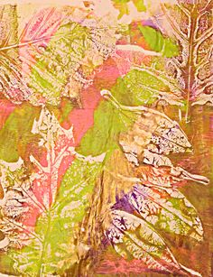 Clare Plantation: Gelli Printing with Flowers and Leaves