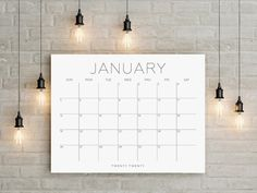 5 Years Printable Big Wall Calendar Planner Home Decor instant gift Modern Calligraphic Horizontal Desk Sunday Chalkboard Wall Calendars, Large Wall Calendar, Family Calendar, Kids Calendar, Desk Calendars, 2021 Calendar, Calendar Ideas, Calendar Design, Monthly Planner Printable