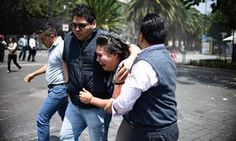 People in Mexico City as the earthquake hit Tuesday. The extent of damage was not immediately clear.
