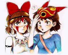 Princess Mononoke and Kiki's Delivery Service Crossover.