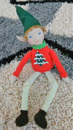 Christmas elf shelf sitter doll golden hair boy made by lukizdolls