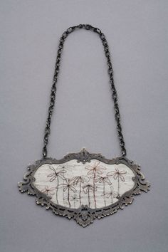 Lauren Blais - Jewelry- necklace sterling silver, silk, hair.