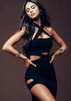 Black X Strap Cut Out Bodycon Dress - Sophia Miacova for Love Culture - SOPHIA x LC