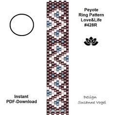 DETAILS: Love&Life #428R Peyote ring pattern - The ring-length is adjustable. Size: 1,2 cm x 6,4 cm / 0.47 x 2.51 - odd count Beads: Miyuki Delica 11/0 >>>>>>>>>>>>> Coupons-codes: <<<<<<<<<<< PREVIOUS KNOWLEDGE: Peyote stitch The pattern does not include instructions for how to do