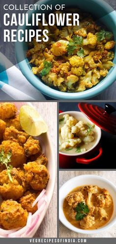 collection of 24 tasty cauliflower recipes - cauliflower or gobi is widely used in indian cooking. gobi can be made alone or in combination with other veggies. Veg Recipes Of India, North Indian Recipes, Vegetable Recipes, Indian Food Recipes, Veggie Dishes, High Protein Vegetarian Recipes, Vegetarian Breakfast Recipes, Vegan Meals, Vegan Food