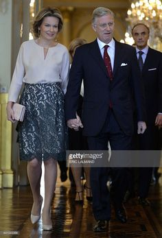 Queen Mathilde of Belgium and King Philippe of Belgium arrive for a New Year's reception organized by the Royal Family for the Belgian Authorities, at the Royal Palace, in Brussels, on January 28, 2016.  / AFP / BELGA / ERIC LALMAND / Belgium OUT        (Photo credit should read ERIC LALMAND/AFP/Getty Images)