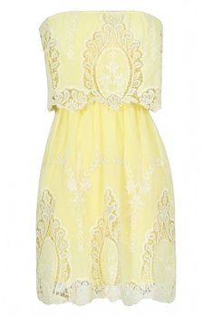 This adorable dress is sweet and girly with a bit of a bohemian touch. The Delicate and Dreamy Crochet Embroidered Dress has embroidery and crochet. This is a Cute Summer Dress, a Cute Yellow Embroidered Dress, and a great Spring Dress. Cute Summer Dresses, Cute Dresses, Dress Skirt, Dress Up, Lace Sheath Dress, Junior Dresses, Unique Dresses, Yellow Dress, Yellow Lace