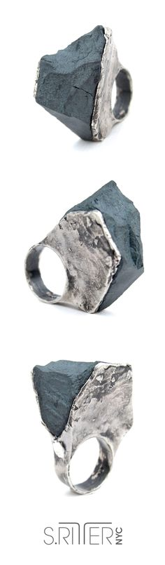 raw hematite sterling silver ring. tall, raw and present hematite presented in sterling silver. not for the faint of heart. beat beat. || raw natural stone rings || elegant and raw statement rings ||  SRitterNYC.com