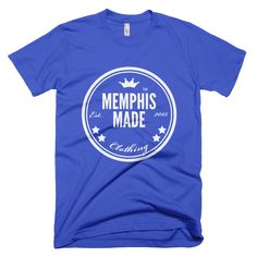 Image of Memphis Made Short Sleeve Blue Tee with White logo