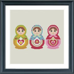 Cross stitch pattern for a set of 3 Matryoshka dolls.  The pattern comes as a PDF file that youll will be able to download immediately after purchase.