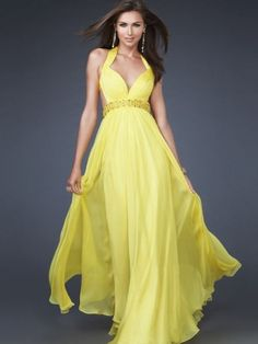Long Yellow Prom Dresses | ... Evening > Chiffon Straps V-Neckline Yellow Long A-Line Evening Dress