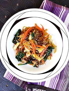 Japchae - Korean stir-fried noodle dish - Cherry on my Sundae