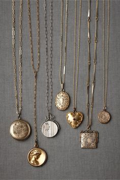 Locket necklaces are a great piece that goes with so many outfits! Collector's Lockets in New at BHLDN
