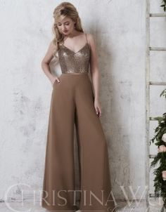 Christina Wu Celebration 22740 is a fashion forward two-piece bridesmaid pant set consisting of a Sequin sweetheart top with spaghetti straps and wide-leg Chiffon pants with lining. The pants and the top both have zipper closures. Classy Outfits, Chic Outfits, Dress Outfits, Fashion Outfits, Dress Indian Style, Indian Fashion Dresses, Chiffon Pants, Dressy Dresses, Lace Dresses