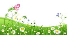 Grass with Butterflies Clipart Picture