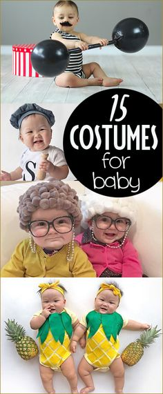 15 Costumes for Baby. Fun and creative DIY costumes for little ones. Adorable costumes for babies you can make at home. Pineapple, grannies, salt and pepper, circus and more.