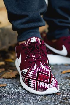 "x-dopeshit: "" airville: "" ""Red Native"" Nike Roshe Run Custom by Niwreig "" http://x-dopeshit.tumblr.com """