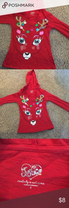 Girls Justice Christmas Shirt! Red reindeer Christmas shirt. Justice size 8 it has a hood in the back Justice Shirts & Tops Tees - Long Sleeve
