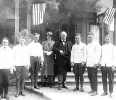 Famous orator, presidential candidate, and Scopes Trial lawyer Williams Jennings Bryan visited Fullerton on May 14, 1917. Students from the high school cooking class had prepared a three-course breakfast for the famous speaker. After posing for this picture in front of the Hotel Shay (formerly the St George Hotel), Bryan addressed the high school student body.