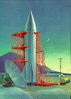 1958 Space Travel art from a children's book