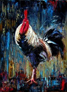 Rooster painting chicken art animal paintings by Debra Hurd, painting by artist Debra Hurd