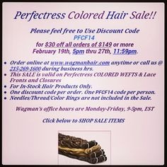 PerfecTress #colored #indianremy sale going on now! #lacefronts #closures #sale www.wagmanhair.com