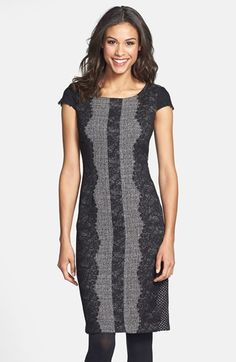 a179822912a859 Betsey Johnson Lace Trim Tweed Sheath Dress